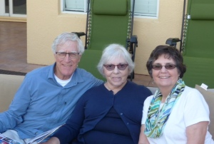 Classmate Maria Messina (center), and her husband (left) and Classmate Marsha Clinard (right)