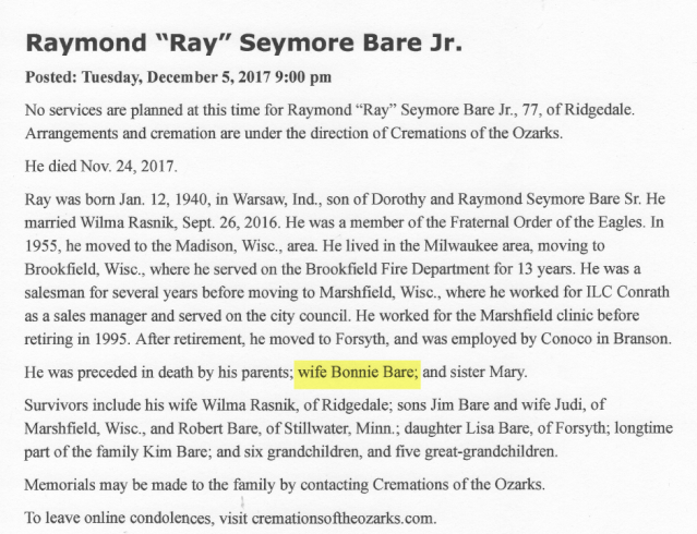 Ray Bare Obit